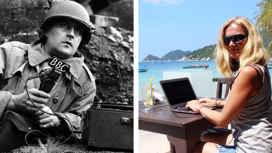 What's the difference between a travel writer and a war reporter?